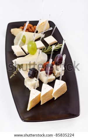 plate with different types cheese