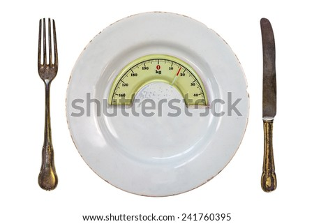 Plate with fork and knife with a weight balance scale integrated in the plate isolated on a white background, diet concept - stock photo
