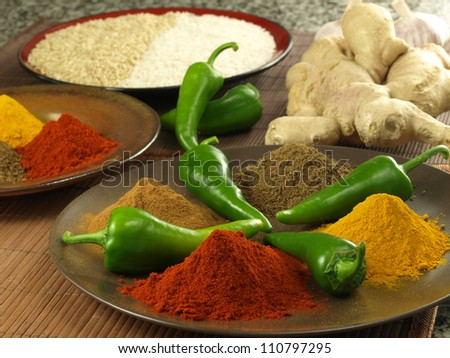 Plate with four types of indian spices - stock photo