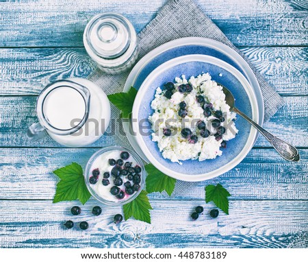 Plate with fresh cottage cheese, a jug with milk and ripe blackcurrant on a wooden table. Healthy food. Food background. Farmer products. Vintage tone. Top view - stock photo