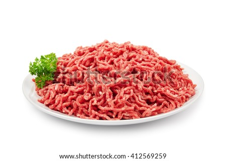 Plate with fresh raw ground beef isolated on white - stock photo