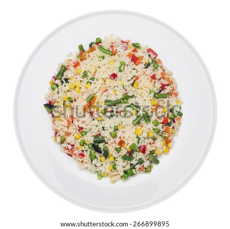 Plate with fried rice with vegetables isolated on white - stock photo