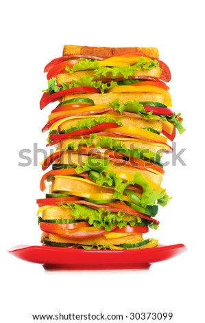 Plate with giant sandwich isolated on the white