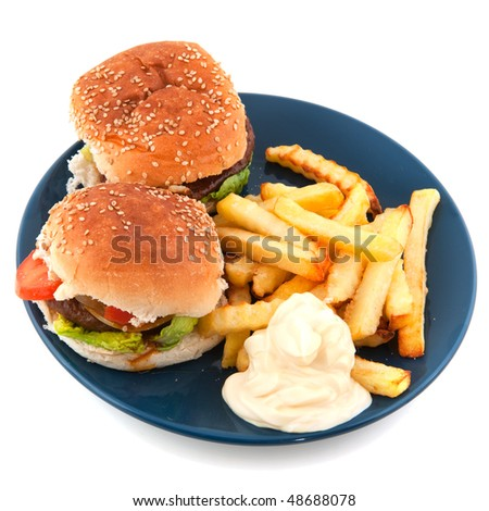 Plate with hamburgers and French fries on white - stock photo