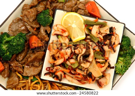 Plate with Lo Mein, Beef, Carrots, Brocolli and Squid Seaweed Salad
