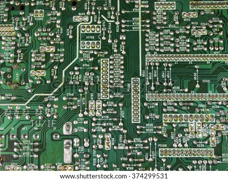 plate with printed circuits - stock photo