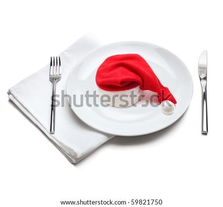 plate with red santa claus hat