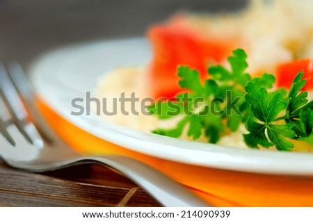 Plate with risotto and vegetable - stock photo