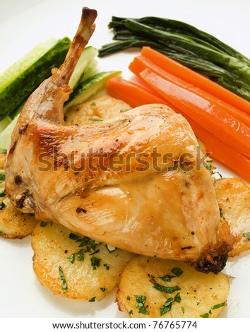 Plate with roasted rabbit leg and vegetable garnish. Shallow dof.