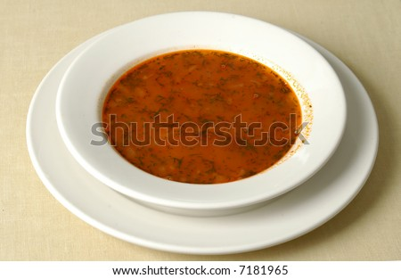 Plate with Russian soup -borshch - stock photo