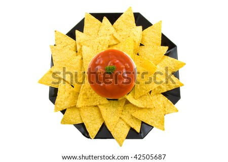 Plate with sauce and tortilla chips isolated over white - stock photo
