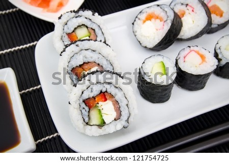 Plate with sushi set