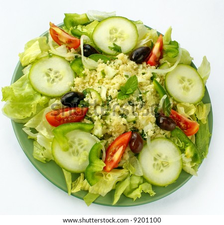 Plate with tabbouleh salad - stock photo