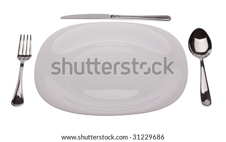 Plate with tablewares on white background