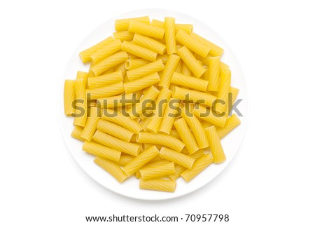 plate with tortiglioni - stock photo