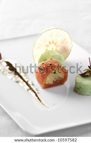 plate with tuna rolls - stock photo