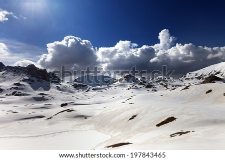 Plateau and lake covered snow at spring day. Turkey, Central Taurus Mountains, Aladaglar (Anti-Taurus), plateau Edigel (Yedi Goller). Wide-angle view. - stock photo