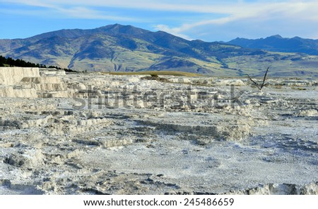 plateau in Mammoth Hot Springs area of Yellowstone National Park, Wyoming - stock photo
