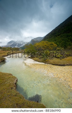 Plateau river  in autumn - stock photo