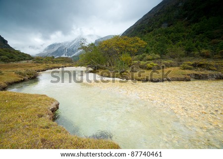 Plateau river  in sichuan of china - stock photo