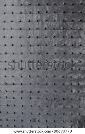 plated medieval door - stock photo