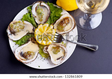 Plated Oysters - stock photo