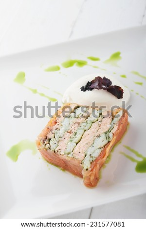 plated smoked salmon terrine appetizer starter - stock photo