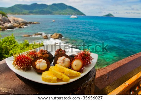Plateful of Exotic Fruits at Seaview Restaurant - stock photo