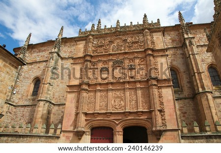 Plateresque facade of the University building of Salamanca, Castile and Leon, Spain. - stock photo