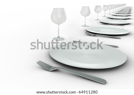 Plates and glasses settings in diagonal row on white background - stock photo