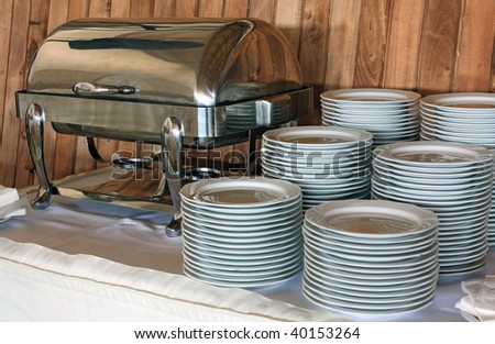 Plates before dinner - stock photo