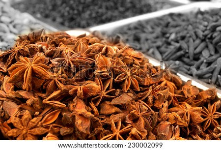 Plates full of dry spicy Indian Spices(added for flavor and aroma in Indian foods while traditional cooking produced viz organic farming) for sale at a local market  in Chennai,India            - stock photo