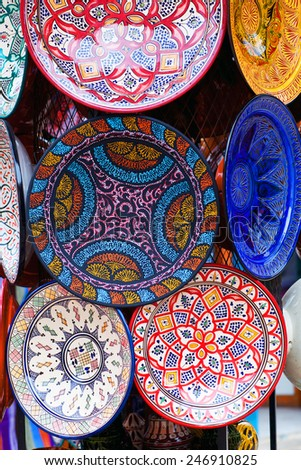 Plates made of clay in the souk of Chefchaouen, Morocco - stock photo