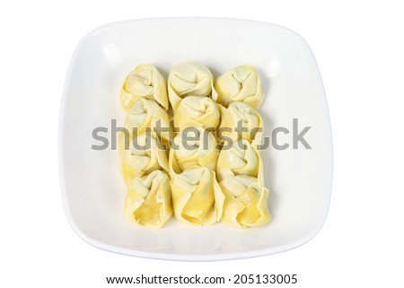 Plates of Chinese Dumplings on White Background - stock photo