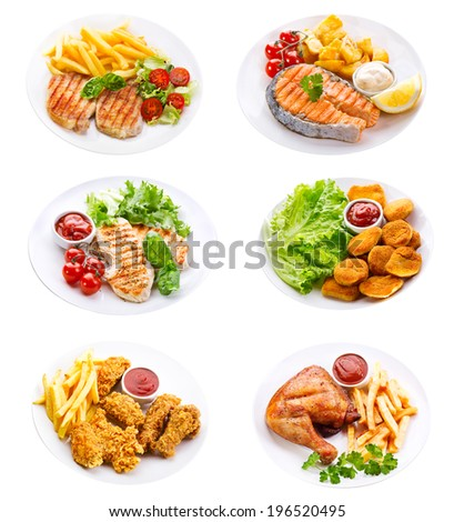 plates of various meat, fish and chicken isolated on white background