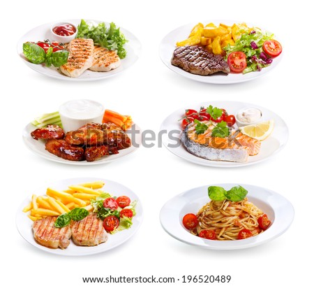 plates of various meat, fish and chicken  on white background - stock photo