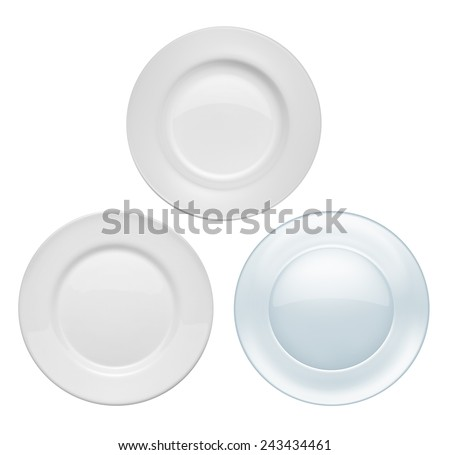 Plates on white background - stock photo