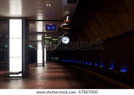 Platform at level -2 at the main railway station of Antwerp, Belgium - stock photo