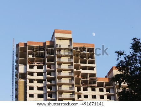 platform for taking heavy load with a crane in the construction multi-storey building apartment