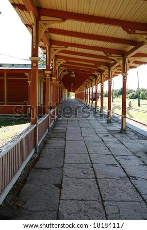 platform in old railway station in Haapsalu, Estonia - stock photo