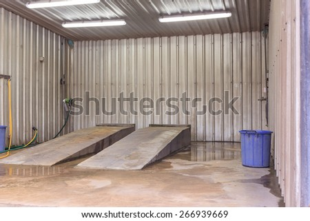 platform of car care for wash and cleaning business service place for customer - stock photo
