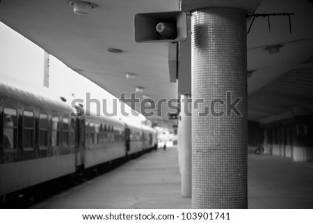 Platform of train station in Prague - stock photo