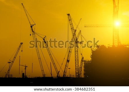Platform oil rig fabrication site, Silhouette of construction activities.