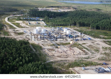 Platform on extraction and oil refining - stock photo