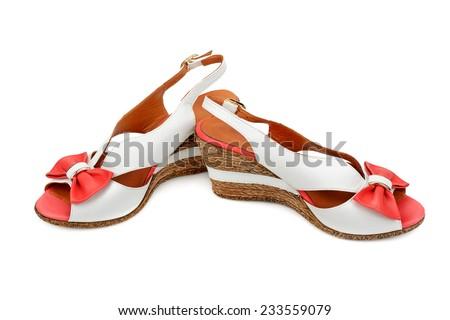 platform sandals isolated on white background - stock photo