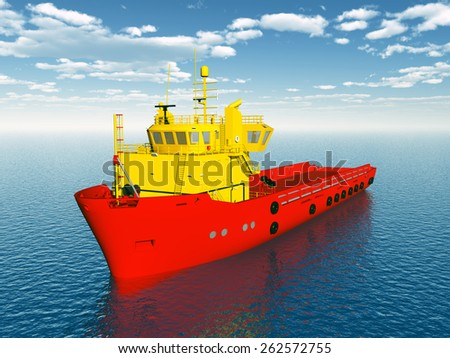Platform Supply Vessel Computer generated 3D illustration - stock photo