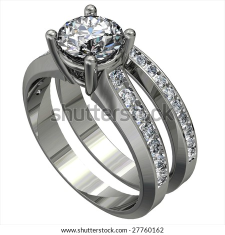 platinum diamond wedding ring set isolated on white