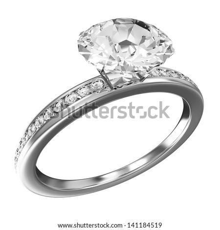 Platinum Wedding Ring with Diamonds isolated on white background - stock photo