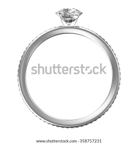 Platinum Wedding Ring with Diamonds isolated on white background - stock photo