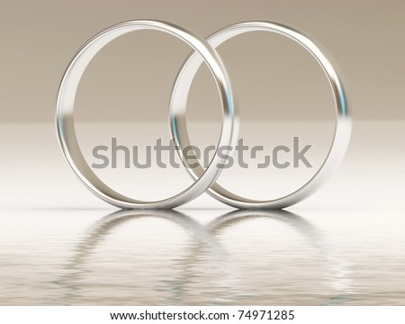 Platinum wedding rings on the water